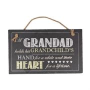 Grandad Holds A Grandchild In His Heart Slate Plaque